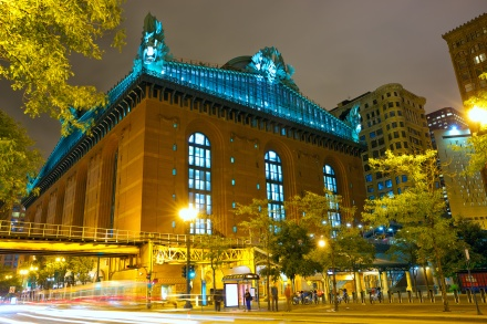 Public Library and State Street at night, Chicago, IL, US